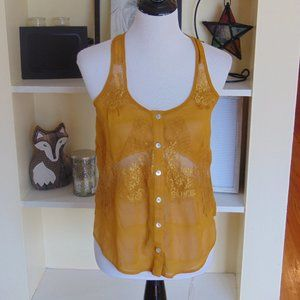*576 bar III Sheer Cut-Out Button Down Tank